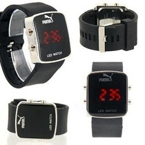 Relogios Led Pulso Puma Sport Black Watch Led Kit C/2 Pçs
