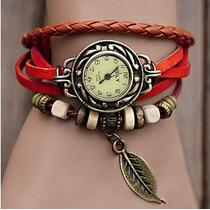 Relógio Feminino Retro Vintage Pulseira De Couro
