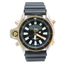 Relógio Masculino Novo Citzem Aqualand Prata E Preto Jp2004
