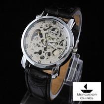 Relógio Winner Prata Com Máquina Aparente