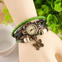 Relógio Feminino Vintage Pingente Pulseira Em Couro