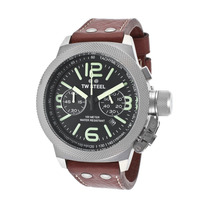 Tw Steel De Homens Canteen Chrono Leather Maroon Genuine Neg