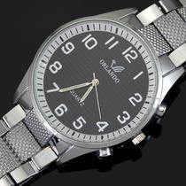 Relógio Masculino Analógico Aço Inoxidável Clássico Elegante
