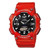 Relógio Casio Aq-s810 Tough Solar Vermelho 5 Alarmes 100mts