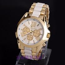 Relógio Femeinino Aço Unissex Geneva Cor Branco Frete Grátis