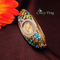 Relógio Bracelete Feminino Ouro Com Cristais - Ajustavel
