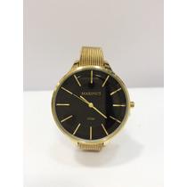 Relógio Feminino Original Dourado Marinu