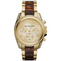Relógio Michael Kors Mk6094 Orig Chron Anal Tortoise Ouro!!