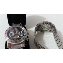 Relógio Masculino Bv Prata Com Fundo Preto