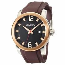 Relógio Masculino Magnum Ma34307p Bronze E Prateado 100m