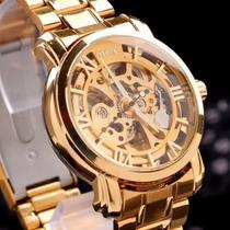 Relógio Dourado Mce D Luxo 18k Automatico Original Importado