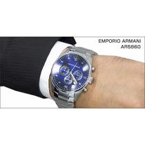 Relogio Masculino Emporio Armani Ar5860 Prata/azul Original