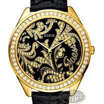 Relógio Guess Crystal Swarovski Preto Couro Dourado Ouro 18k