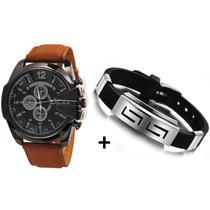 Relógio Super Speed Pulseira De Couro Masculino + Pulseira