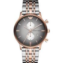 Relógio Emporio Armani Ar1721 Prata Preto E Rose Garantia