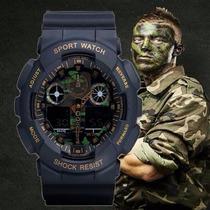 Relógio Camuflado Militar Shock Resist Ga100 Exercito.elite