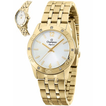 Relógio Champion Feminino Dourado Wr 30m Cn27349h Elegance