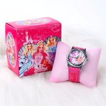 Lindo Relógio Barbie + Case Infatil Menina Presente Crianças