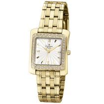 Relógio Feminino Dourado Quadrado Champion Cn29392h Luxo