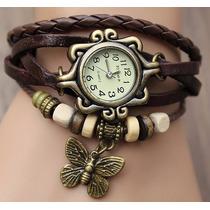 Relógio Feminino Pingente Borboleta Vintage