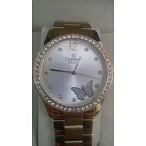 Relógio Champion Folheado A Ouro A Prova D