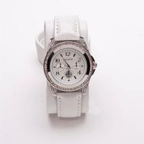 Prata Circular Diamonds Branco Banda Analog Digital Mulheres