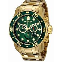 Relógio Invicta Scuba 0075 (fundo Verde, Banhado A Ouro 18k)