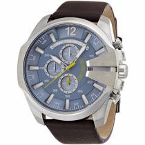 Relógio Diesel Dz4281 Azul Pulseira Em Couro Marrom