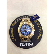 Relógio Festina Dourado Original Completo Tour De France