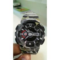 Relógio Masculino Camuflado Cinza Wr 30m