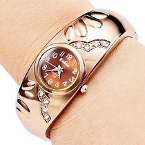 Relogio Feminino Quartzo Bracelete Ouro Rose Strass