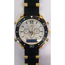Relógio Mascolino Pulseira Borracha Dourado Com Digital