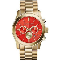 Relógio Michael Kors Mk5930 Gold Red 47mm Oversized Novo !
