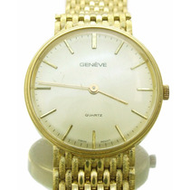 Relógio De Pulso Geneve Todo Em Ouro Amarelo 18k J10830