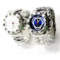 Relógio Masculino Reserve Excursion Série Prata- Azul Branco