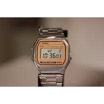 Relógio Retrô Casio Digital Prateado Com Dourado A158wea-9cf