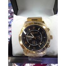 Relógio Michael Kors Mk Preto E Dourado/ 1 Ano Garantia