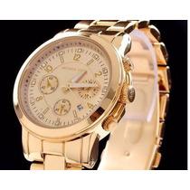 Relógio Analógico Feminino Cromado Cor Dourado M K Novo