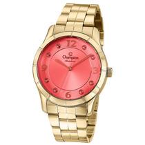 Relógio Feminino Dourado Champion Vidro Vermelho Cn29909c