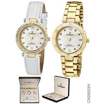 Relógio Champion Feminino Cn29203h 2 Pulseiras E 2 Aros