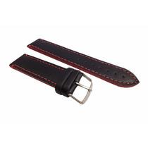 Pulseira Relógio Couro Preta 20mm Lateral Vermelha Luxo [g1]