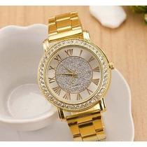Relógio Feminino Dourado Com Strass Luxo Barato