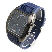Relógio Led Display Binário Velocímetro Pulseira Dark Blue