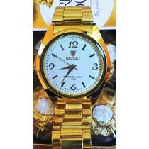 Relógio Femininis Dourado + Caixa C/ 4 Bombom Ferrero Rocher