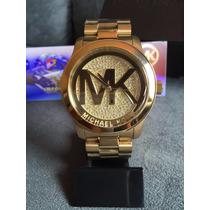 Relogio Michael Kors Runway Mk5706 Dourado Cristais Lindo