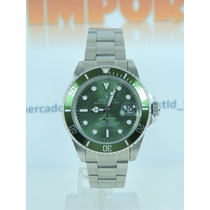 Relógio Submariner Oyster Perpetual Verde Militar/prata