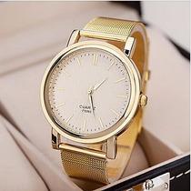 Caixa De Relógio De Ouro Da Moda Banda Liga Das Mulheres