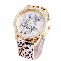 Relógio De Luxo Leopardo Design Diamante - Frete Grátis