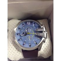 Relógio Diesel Prata Azul Couro Original Top + Sedex Grátis
