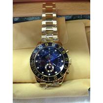 Relógio Yacht Master 2 Ouro Gold Preto Vidro Safira Sedex